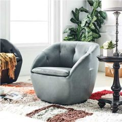 W1621 Grey Leather Swivel Chair