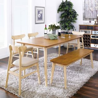 Luna-6-Pa  Dining set  (1 Table + 4 Chairs + 1 Bench)