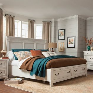 B4056  Panel Queen Bed w/ Storage  (침대+협탁+화장대)