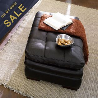 7491-Brown  Leather Ottoman