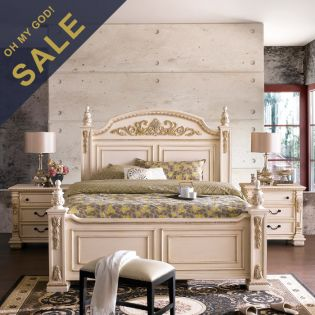 B8168-White  Panel Bed ~French Style~