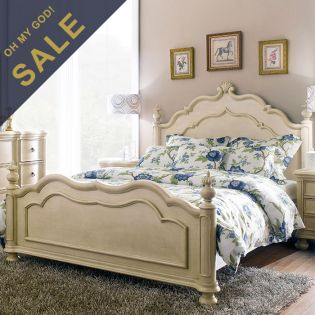 Lily-Ivory  Queen Panel Bed