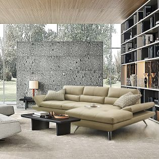 10363 Ivory-Chaise  Leather Sofa