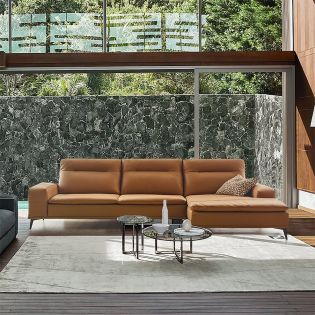 ZA19  Leather Sofa w/ Chaise