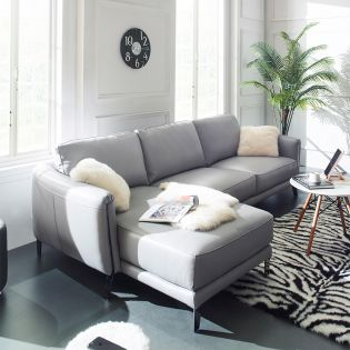 12087  Full Leather Sofa w/ Chaise