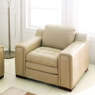 7491-10-Ivory  Leather Chair