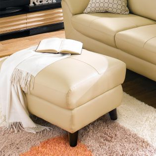 M8007-Beige  Leather Ottoman