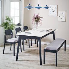 Obey-6-Ceramic  Dining Set  (1 Table + 3 Chair + 1 Bench)