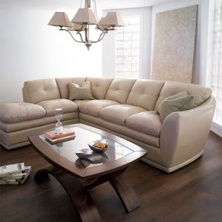 8188-Ivory  Leather Sofa