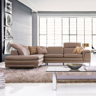 MU-9861-Taupe-Chaise  Leather Sofa