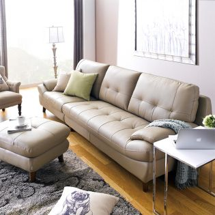 M8002-Cappuccino  Leather Sofa