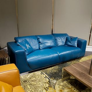 Sophia-Aquablue Leather Sofa