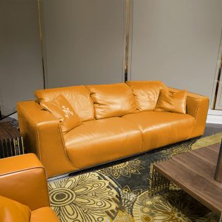 Sophia-Tangerine  Leather Sofa