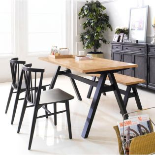 Firenze-4-Black  Dining Set (1 Table + 2 Chairs + 1 Bench)