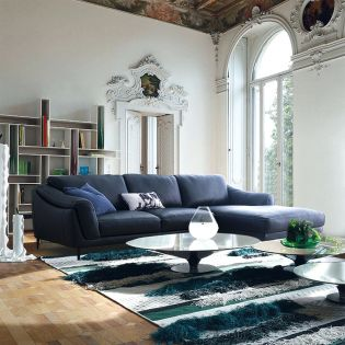 Masseto-Navy  Couch Leather Sofa