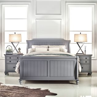 FR-B3944-Grey  Sleigh Bed