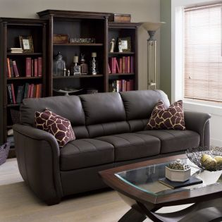 7764-Brown  Leather Ottoman