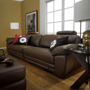 6497-Brown  Leather Ottoman