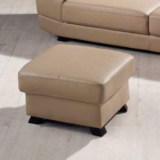 S-1562-Ivory  Leather Ottoman