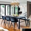 Carver-3CH-1BH-Black   Dining Set (1 Table + 3 Chairs + 1 Bench)
