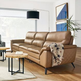 10459 Tan  4-Seater Leather Sofa