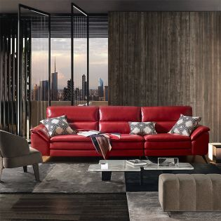 10459 Red  4-Seater Leather Sofa
