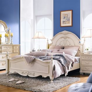 Angela-Ivory  Queen Panel bed (침대+협탁+화장대)