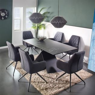 HT90041-6  Ceramic Dining Set  (1 Table + 6 Chairs)