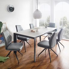 HT90064-6  Ceramic Dining Set  (1 Table + 4 Chairs + 1 Bench)