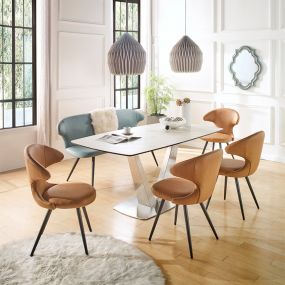 HT90065-6  Ceramic Dining Set  (1 Table + 4 Chairs + 1 Bench)