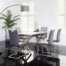 HT90035-6   Extentable Ceramic  Dining Set  (1 Table + 6 Chairs)