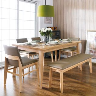 Zodax-6-Natural  Dining Set  (1 Table + 2 Benches)