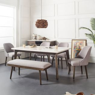 DR211-Ferraro  White Marble Dining Set  ( 1 Table + 4 Chairs + 1 Bench)